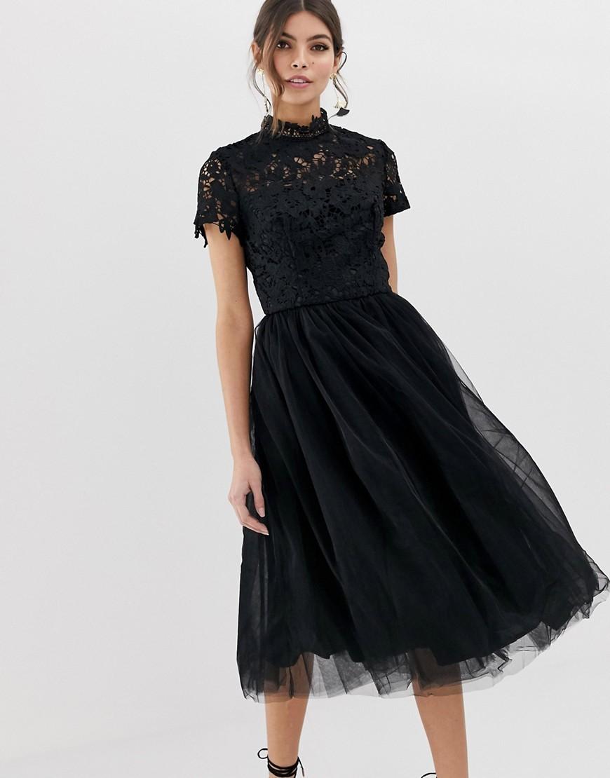 schwarzes ausgestelltes kleid aus spitze von chi chi london