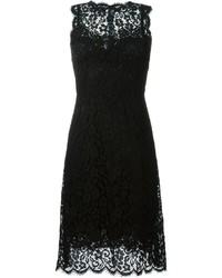schwarzes ausgestelltes Kleid aus Spitze von Dolce & Gabbana