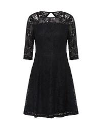 schwarzes ausgestelltes Kleid aus Spitze von Dorothy Perkins