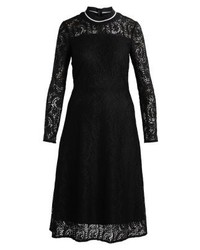 schwarzes ausgestelltes Kleid aus Spitze von KIOMI