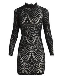 schwarzes ausgestelltes Kleid aus Spitze von Missguided