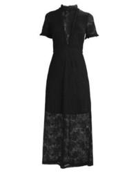 schwarzes ausgestelltes Kleid aus Spitze von Oh My Love