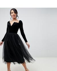 schwarzes ausgestelltes Kleid aus Tüll von Asos Tall