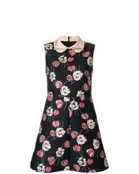 schwarzes ausgestelltes Kleid mit Blumenmuster von RED Valentino