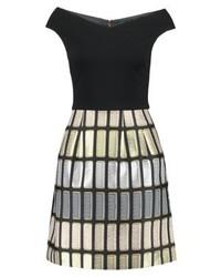 schwarzes ausgestelltes Kleid mit Karomuster von Ted Baker