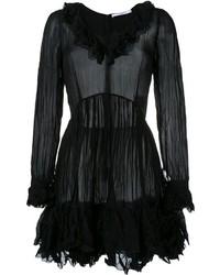 schwarzes ausgestelltes Kleid mit Rüschen von Givenchy