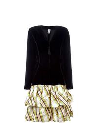 schwarzes ausgestelltes Kleid mit Schottenmuster von Emanuel Ungaro Vintage