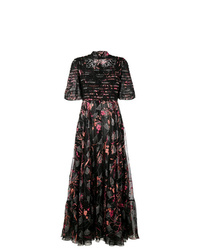 schwarzes Ballkleid mit Blumenmuster von Valentino