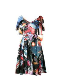 schwarzes bedrucktes ausgestelltes Kleid von Moschino