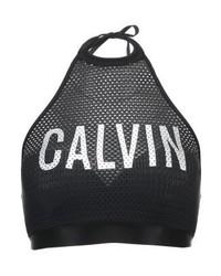 schwarzes bedrucktes Bikinioberteil aus Netzstoff von Calvin Klein