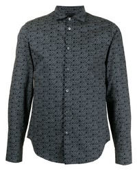 schwarzes bedrucktes Businesshemd von Emporio Armani