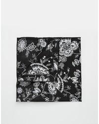 schwarzes bedrucktes Einstecktuch von Reclaimed Vintage