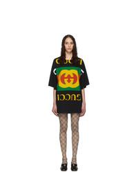 schwarzes bedrucktes Freizeitkleid von Gucci