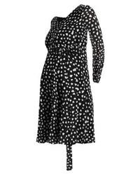 schwarzes bedrucktes gerade geschnittenes Kleid von Pietro Brunelli