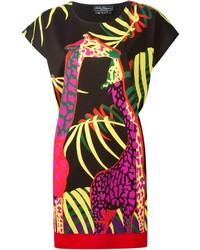 schwarzes bedrucktes gerade geschnittenes Kleid von Salvatore Ferragamo