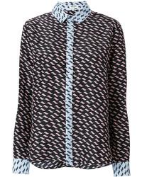 schwarzes bedrucktes Hemd von Kenzo