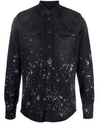 schwarzes bedrucktes Jeanshemd von Dolce & Gabbana
