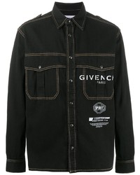 schwarzes bedrucktes Jeanshemd von Givenchy