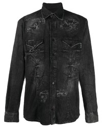 schwarzes bedrucktes Jeanshemd von Philipp Plein