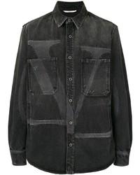 schwarzes bedrucktes Jeanshemd von Valentino