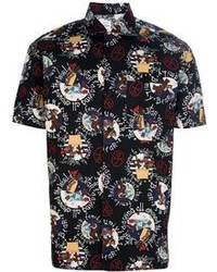 schwarzes bedrucktes Kurzarmhemd