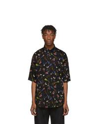 schwarzes bedrucktes Kurzarmhemd von Balenciaga