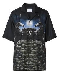 schwarzes bedrucktes Kurzarmhemd von Burberry