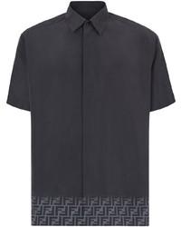 schwarzes bedrucktes Kurzarmhemd von Fendi