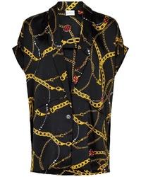 schwarzes bedrucktes Kurzarmhemd von iN FRONT