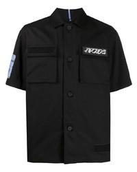 schwarzes bedrucktes Kurzarmhemd von McQ