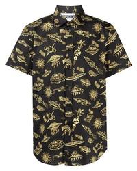schwarzes bedrucktes Kurzarmhemd von Moschino