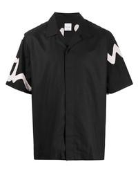 schwarzes bedrucktes Kurzarmhemd von Paul Smith