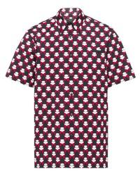schwarzes bedrucktes Kurzarmhemd von Prada