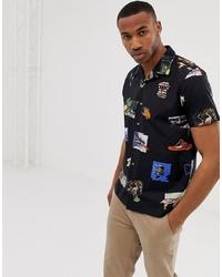 schwarzes bedrucktes Kurzarmhemd von PS Paul Smith