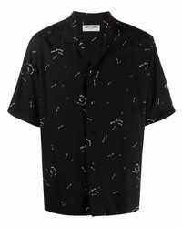 schwarzes bedrucktes Kurzarmhemd von Saint Laurent