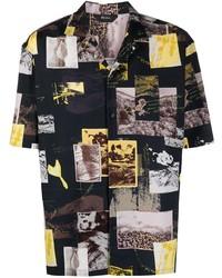 schwarzes bedrucktes Kurzarmhemd von Z Zegna
