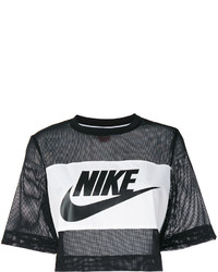 schwarzes bedrucktes kurzes Oberteil aus Netzstoff von Nike
