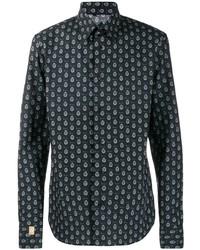 schwarzes bedrucktes Langarmhemd von Billionaire