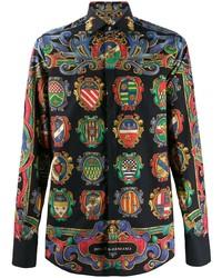 schwarzes bedrucktes Langarmhemd von Dolce & Gabbana