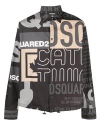 schwarzes bedrucktes Langarmhemd von DSQUARED2