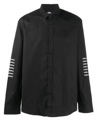 schwarzes bedrucktes Langarmhemd von Karl Lagerfeld