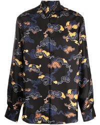 schwarzes bedrucktes Langarmhemd von Lanvin