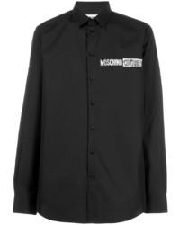 schwarzes bedrucktes Langarmhemd von Moschino