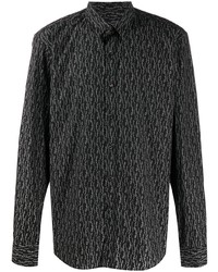 schwarzes bedrucktes Langarmhemd von Salvatore Ferragamo