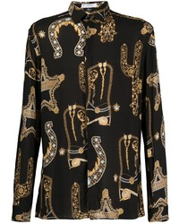schwarzes bedrucktes Langarmhemd von Versace Collection