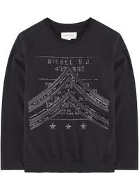 schwarzes bedrucktes Langarmshirt