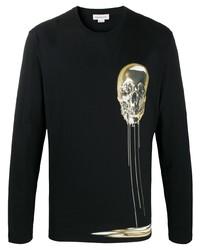 schwarzes bedrucktes Langarmshirt von Alexander McQueen