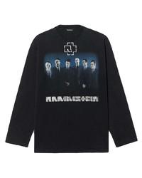schwarzes bedrucktes Langarmshirt von Balenciaga