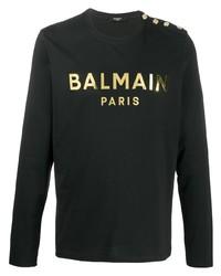 schwarzes bedrucktes Langarmshirt von Balmain