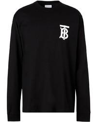 schwarzes bedrucktes Langarmshirt von Burberry